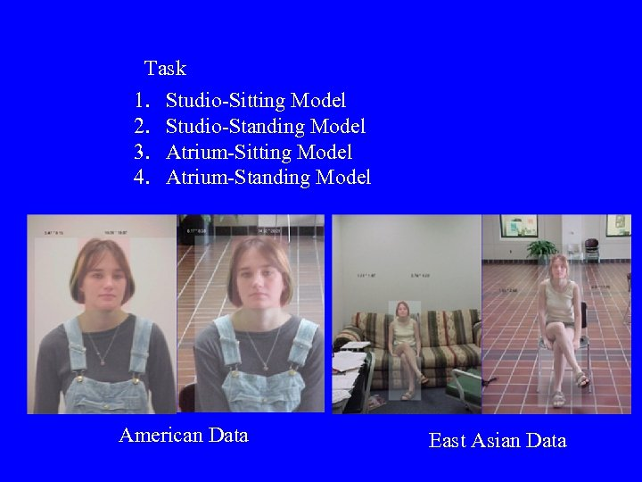 Task 1. 2. 3. 4. Studio-Sitting Model Studio-Standing Model Atrium-Sitting Model Atrium-Standing Model American