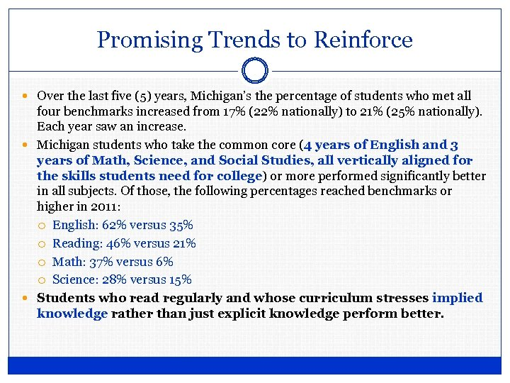 Promising Trends to Reinforce Over the last five (5) years, Michigan's the percentage of