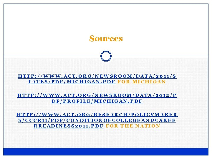 Sources HTTP: //WWW. ACT. ORG/NEWSROOM/DATA/2011/S TATES/PDF/MICHIGAN. PDF FOR MICHIGAN HTTP: //WWW. ACT. ORG/NEWSROOM/DATA/2012/P DF/PROFILE/MICHIGAN.