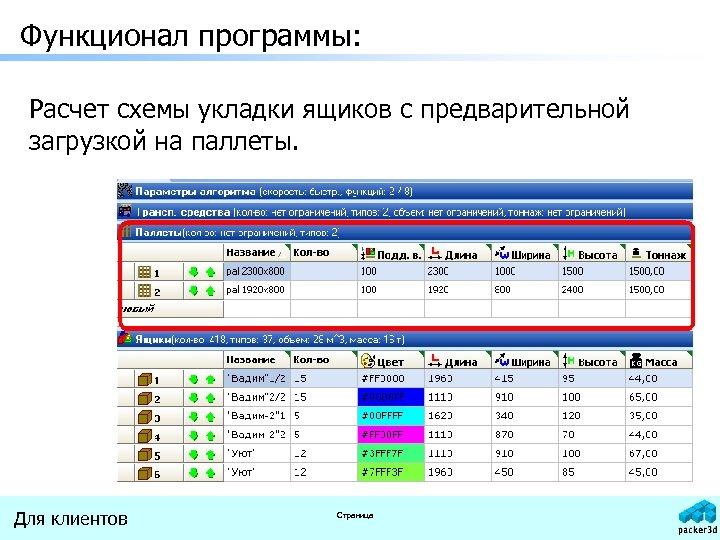 Функционал программы: Расчет схемы укладки ящиков с предварительной загрузкой на паллеты. Для клиентов Страница