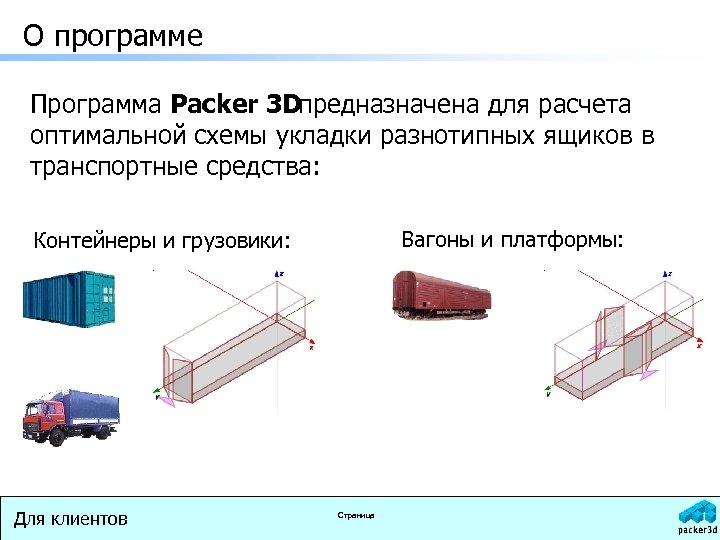 О программе Программа Packer 3 Dпредназначена для расчета оптимальной схемы укладки разнотипных ящиков в