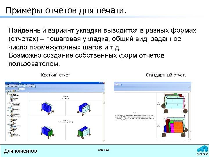 Примеры отчетов для печати. Найденный вариант укладки выводится в разных формах (отчетах) – пошаговая