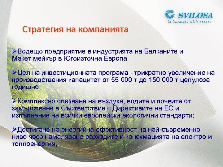 Стратегия на компанията ØВодещо предприятие в индустрията на Балканите и Макет мейкър в Югоизточна