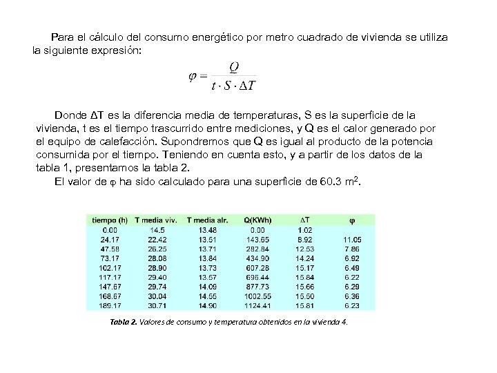 Para el cálculo del consumo energético por metro cuadrado de vivienda se utiliza la