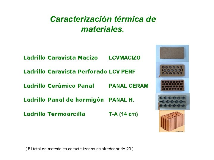 Caracterización térmica de materiales. Ladrillo Caravista Macizo LCVMACIZO Ladrillo Caravista Perforado LCV PERF Ladrillo
