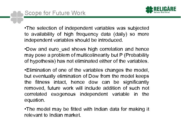 Scope for Future Work • The selection of independent variables was subjected to availability