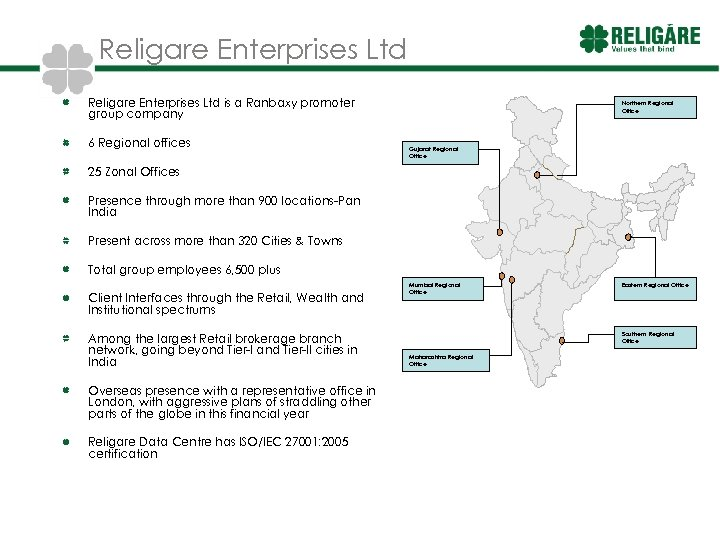 Religare Enterprises Ltd is a Ranbaxy promoter group company 6 Regional offices Northern Regional