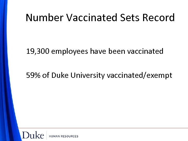 Number Vaccinated Sets Record 19, 300 employees have been vaccinated 59% of Duke University