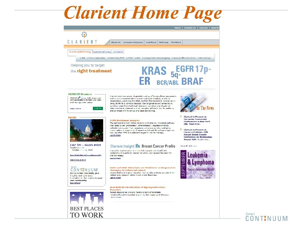 Clarient Home Page