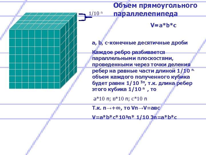 1/10 n Объем прямоугольного параллелепипеда V=a*b*c a, b, c-конечные десятичные дроби Каждое ребро разбивается