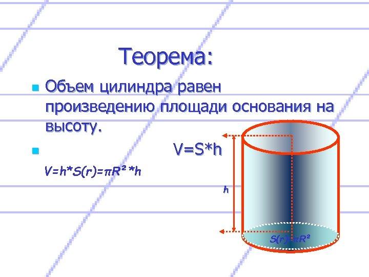 Теорема: n n Объем цилиндра равен произведению площади основания на высоту. V=S*h V=h*S(r)=πR²*h h