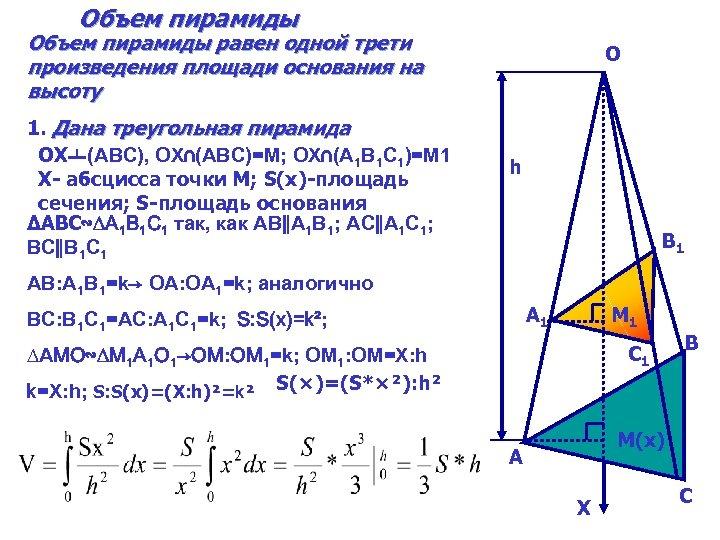 Объем пирамиды равен одной трети произведения площади основания на высоту 1. Дана треугольная пирамида