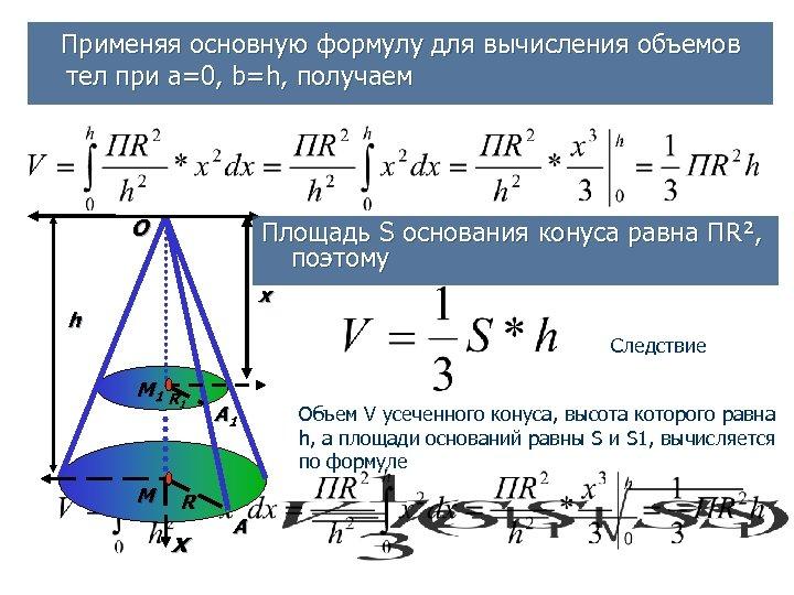 Применяя основную формулу для вычисления объемов тел при а=0, b=h, получаем O Площадь S