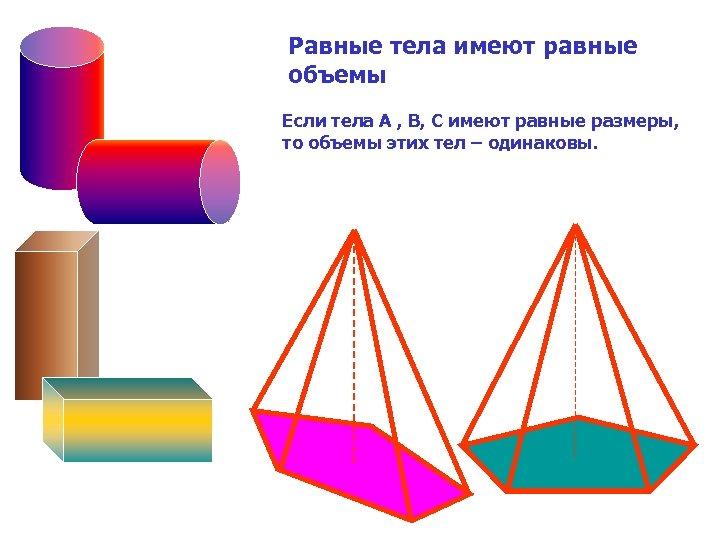 Равные тела имеют равные объемы Если тела А , В, С имеют равные размеры,