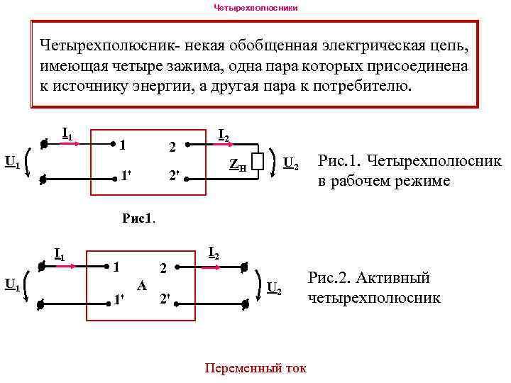 Четырехполюсники Четырехполюсник- некая обобщенная электрическая цепь, имеющая четыре зажима, одна пара которых присоединена к