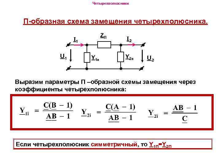 Четырехполюсники П-образная схема замещения четырехполюсника. ZП I 1 U 1 Y 1 п I