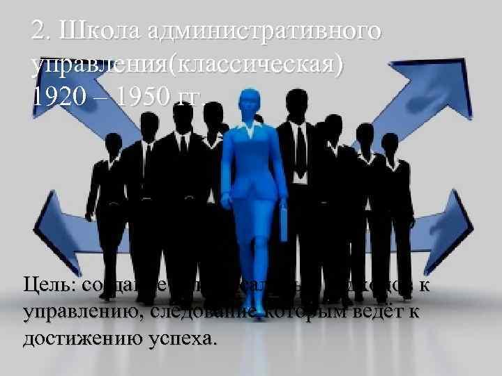 2. Школа административного управления(классическая) 1920 – 1950 гг. Цель: создание универсальных подходов к управлению,