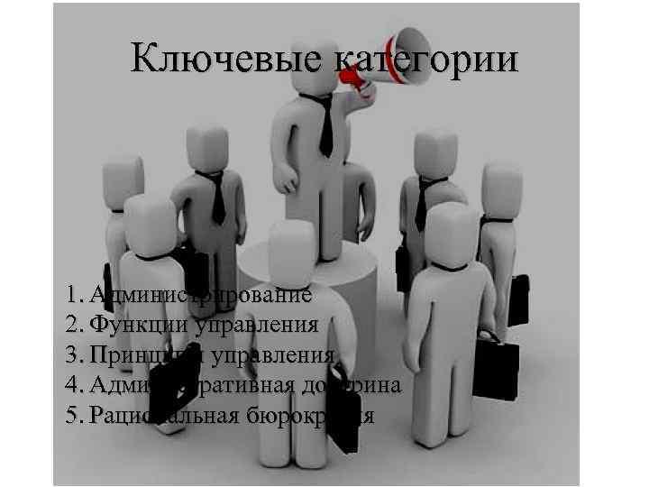 Ключевые категории 1. Администрирование 2. Функции управления 3. Принципы управления 4. Административная доктрина 5.