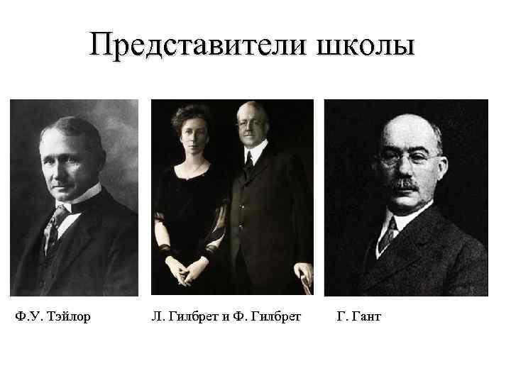 Представители школы Ф. У. Тэйлор Л. Гилбрет и Ф. Гилбрет Г. Гант
