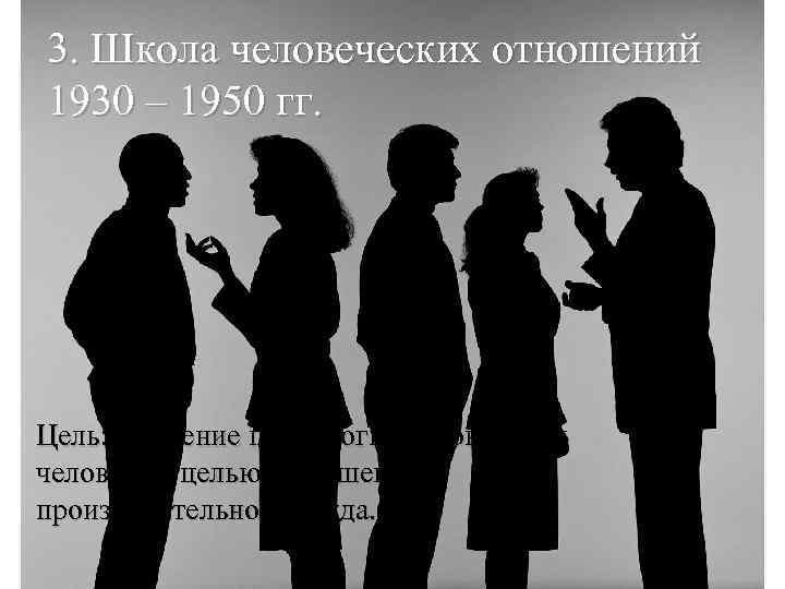 3. Школа человеческих отношений 1930 – 1950 гг. Цель: Изучение психологии и поведения человека