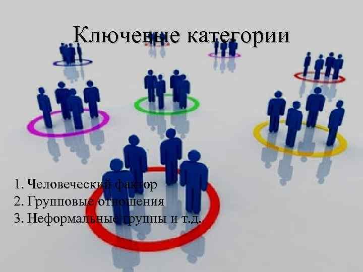 Ключевые категории 1. Человеческий фактор 2. Групповые отношения 3. Неформальные группы и т. д.