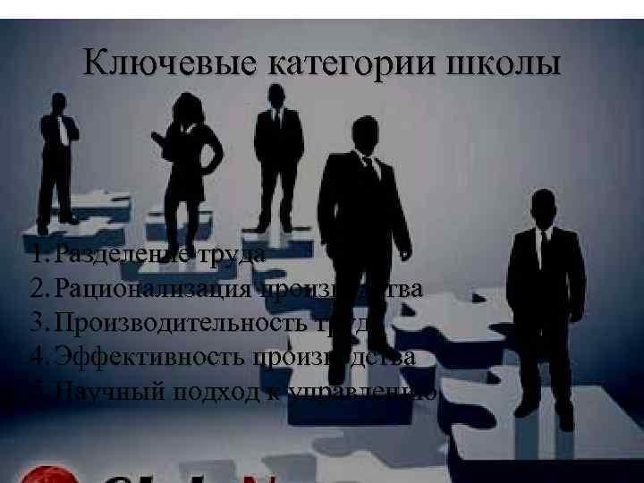 Ключевые категории школы 1. Разделение труда 2. Рационализация производства 3. Производительность труда 4. Эффективность