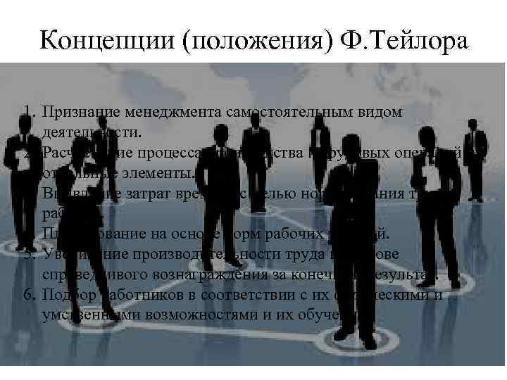 Концепции (положения) Ф. Тейлора 1. Признание менеджмента самостоятельным видом деятельности. 2. Расчленение процесса производства
