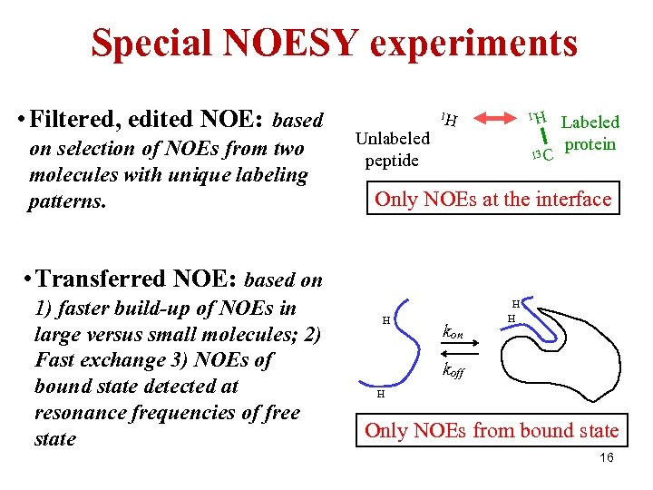 Special NOESY experiments • Filtered, edited NOE: based on selection of NOEs from two