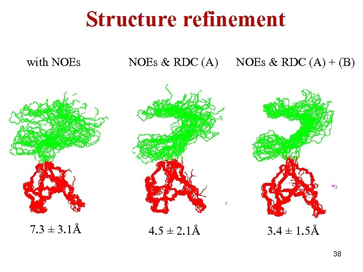 Structure refinement with NOEs & RDC (A) + (B) 7. 3 ± 3. 1Å
