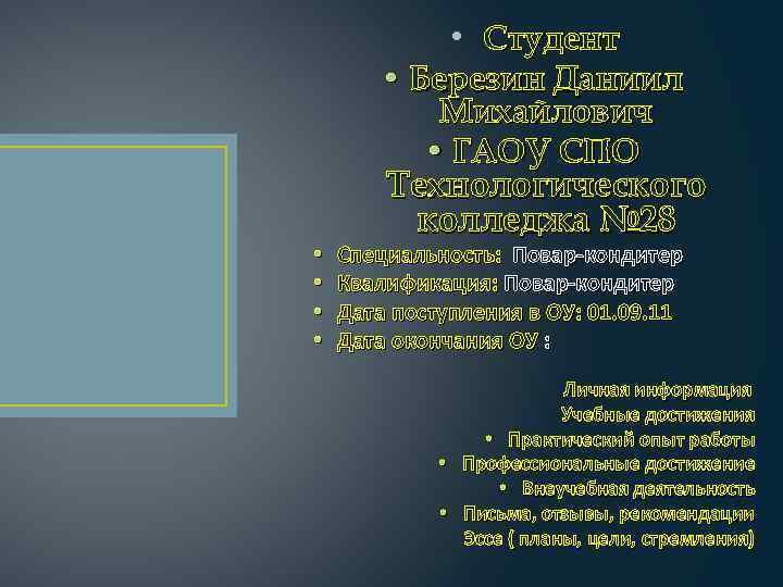 • Студент • • • Березин Даниил Михайлович • ГАОУ СПО Технологического колледжа