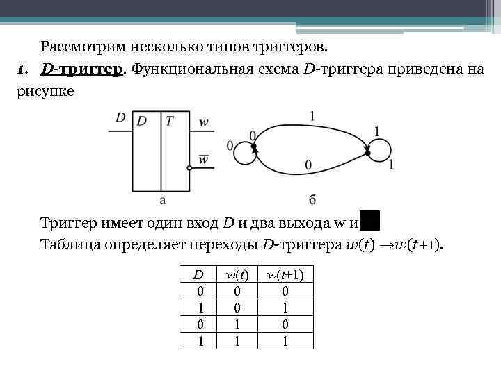 Рассмотрим несколько типов триггеров. 1. D-триггер. Функциональная схема D-триггера приведена на рисунке Триггер имеет