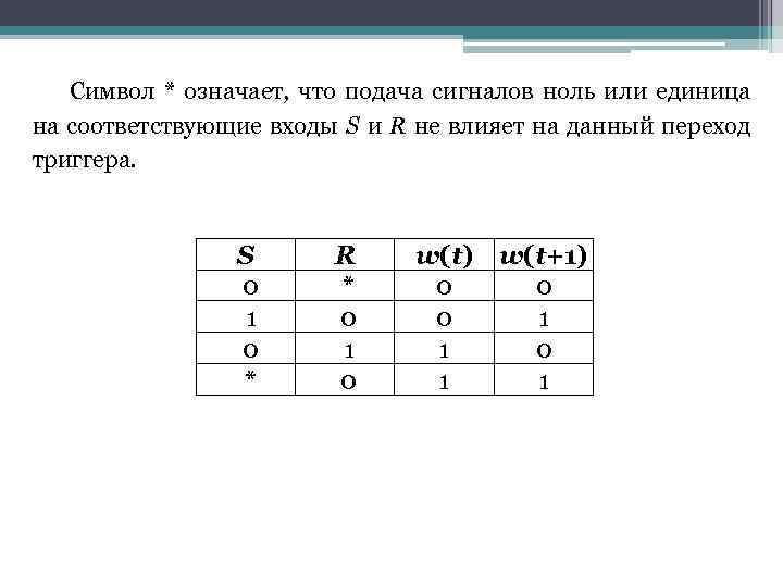 Символ * означает, что подача сигналов ноль или единица на соответствующие входы S и