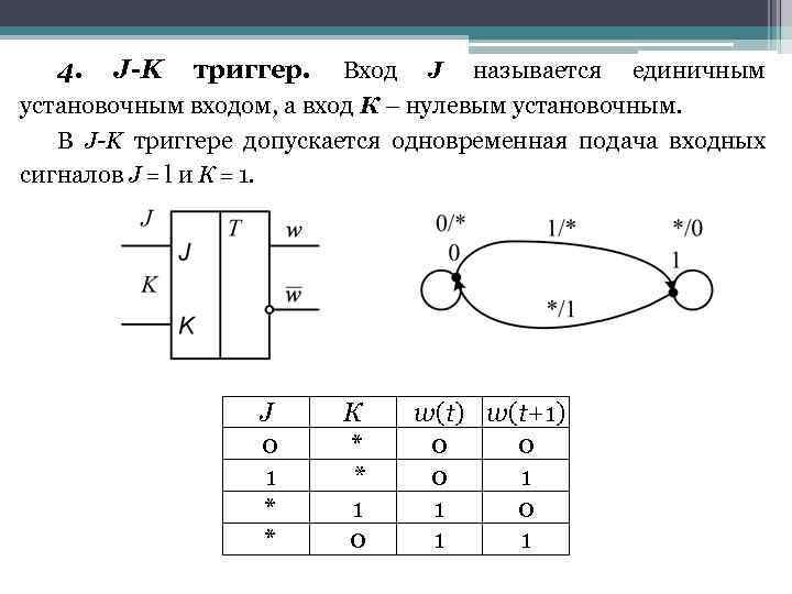 4. J-K триггер. Вход J называется единичным установочным входом, а вход К – нулевым