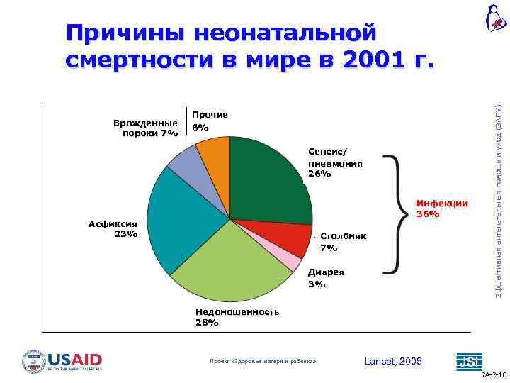 Врожденные пороки 7% Прочие 6% Сепсис/ пневмония 26% Инфекции 36% Асфиксия 23% Столбняк 7%