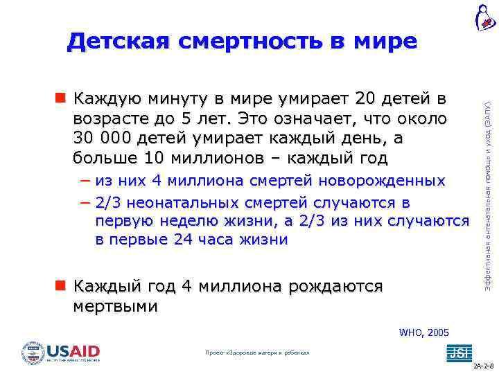 Каждую минуту в мире умирает 20 детей в возрасте до 5 лет. Это