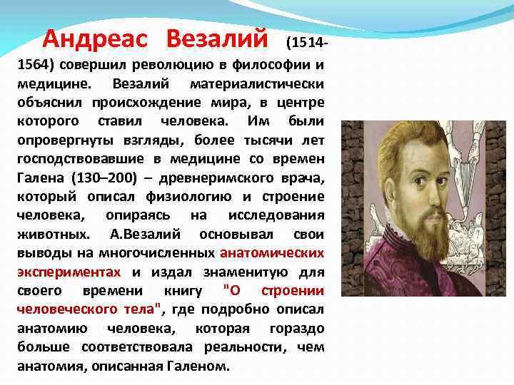 Андреас Везалий (15141564) совершил революцию в философии и медицине. Везалий материалистически объяснил происхождение мира,