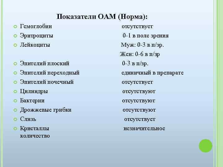 Показатели ОАМ (Норма): Гемоглобин отсутствует Эритроциты 0 -1 в поле зрения Лейкоциты Муж: 0