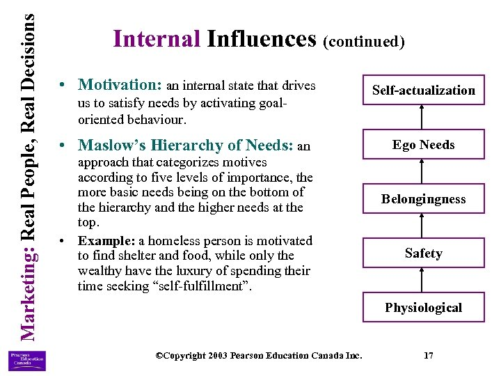 Marketing: Real People, Real Decisions Internal Influences (continued) • Motivation: an internal state that