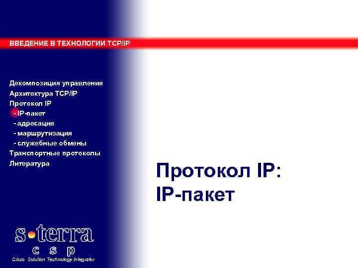 ВВЕДЕНИЕ В ТЕХНОЛОГИИ TCP/IP Декомпозиция управления Архитектура TCP/IP Протокол IP - IP-пакет - адресация