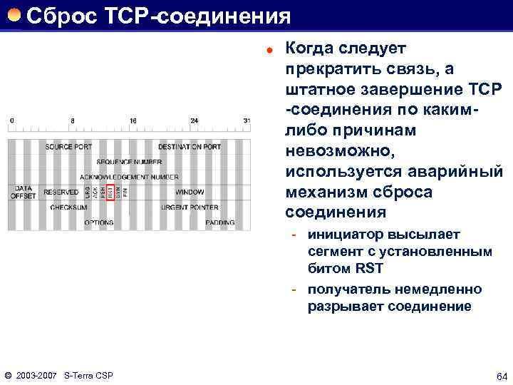 Сброс ТСР-соединения ® Когда следует прекратить связь, а штатное завершение ТСР -соединения по какимлибо