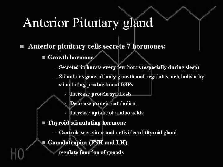 Anterior Pituitary gland n Anterior pituitary cells secrete 7 hormones: n Growth hormone –