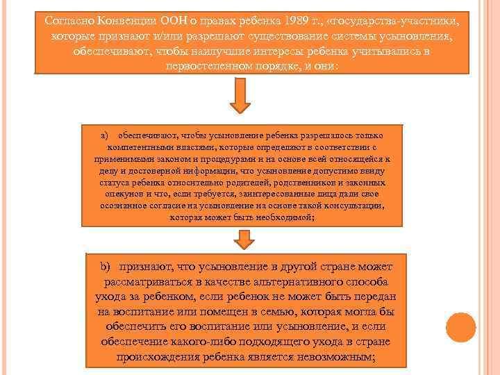 Согласно Конвенции ООН о правах ребенка 1989 г. , «государства-участники, которые признают и/или разрешают