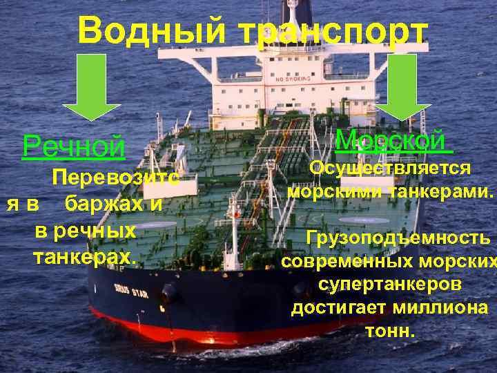 Водный транспорт Речной Перевозитс я в баржах и в речных танкерах. Морской Осуществляется