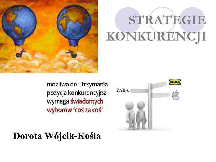 STRATEGIE KONKURENCJI Dorota Wójcik-Kośla