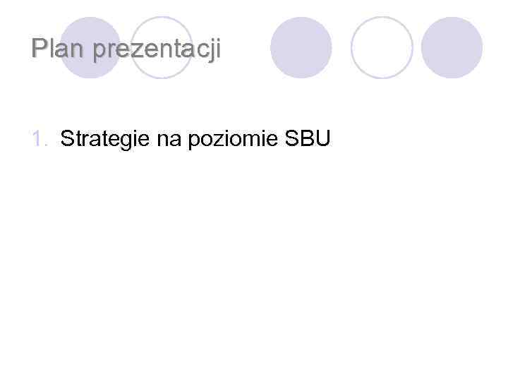 Plan prezentacji 1. Strategie na poziomie SBU