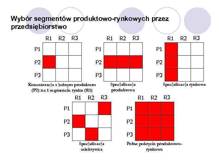Wybór segmentów produktowo-rynkowych przez przedsiębiorstwo R 1 R 2 R 3 R 1 P