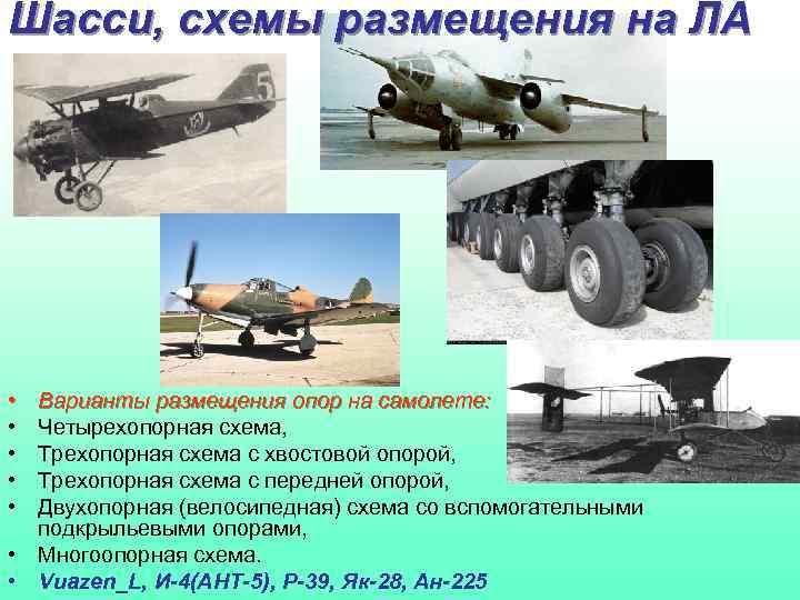 Шасси, схемы размещения на ЛА • • • Варианты размещения опор на самолете: Четырехопорная