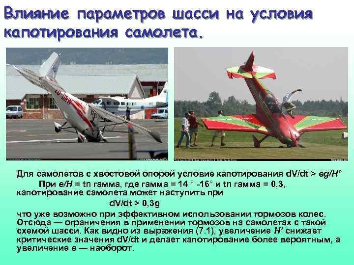 Влияние параметров шасси на условия капотирования самолета. Для самолетов с хвостовой опорой условие капотирования
