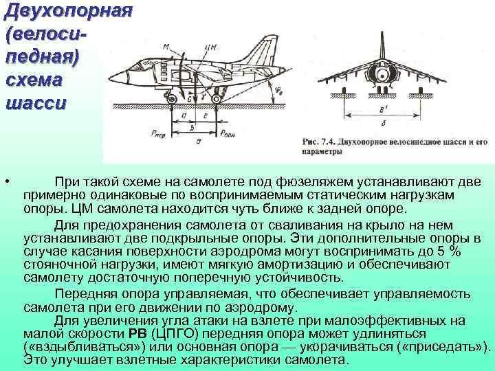 Двухопорная (велосипедная) схема шасси • При такой схеме на самолете под фюзеляжем устанавливают две
