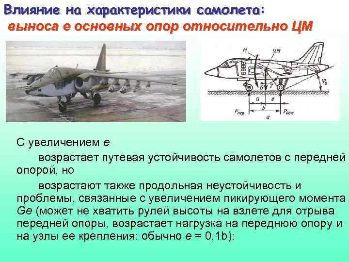 Влияние на характеристики самолета: выноса е основных опор относительно ЦМ С увеличением е возрастает